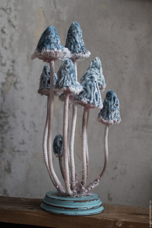 Conocybe apala. Текстильная грибница. Интерьерная композиция, Статуэтки, Москва, Фото №1