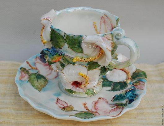 """Сервизы, чайные пары ручной работы. Ярмарка Мастеров - ручная работа. Купить """"Белый гибискус и колибри"""".Чайная пара.. Handmade."""