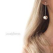 Украшения handmade. Livemaster - original item Stud earrings with extra long balls, minimalism. Handmade.