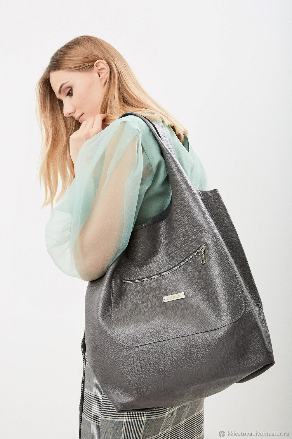 Soft grey bag - Bag Pack - large size leather, Sacks, Moscow,  Фото №1