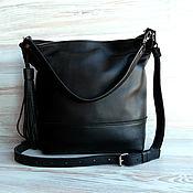 Кожаная черная сумка на плечо.Кожаная сумка.Черная сумка.