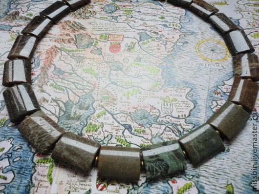 Колье, бусы ручной работы. Ярмарка Мастеров - ручная работа. Купить «Terra Incognita» колье из пейзажной яшмы. Handmade. Хаки