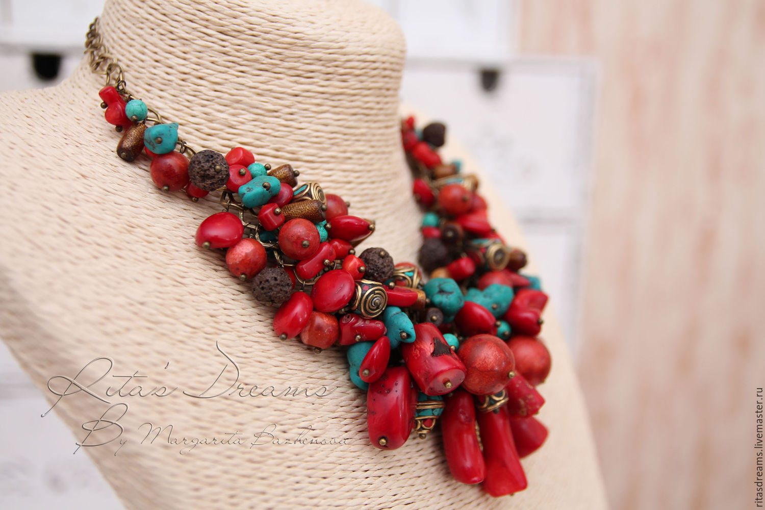Large red chain necklace with a gorgeous red corals of different shapes and sizes, small sticks of gold coral, volcanic lava, tinted howlite and Tibetan beads.