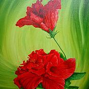 Картины ручной работы. Ярмарка Мастеров - ручная работа Красная бегония на зелёном фоне. Handmade.