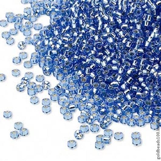 Для украшений ручной работы. Ярмарка Мастеров - ручная работа. Купить MIYUKI КРУГЛЫЙ 15/0  цвет 19 silver-lined transparent light blue 10 гр. Handmade.