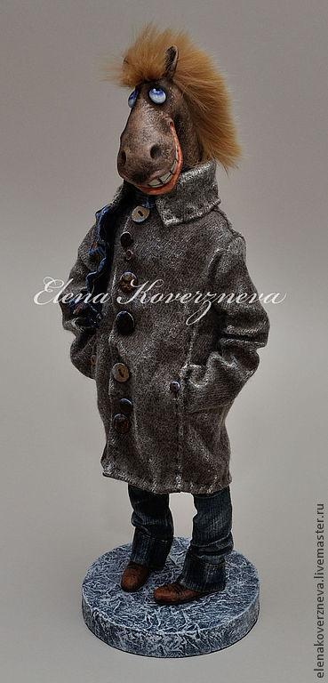Коллекционные куклы ручной работы. Ярмарка Мастеров - ручная работа. Купить Конь в пальто авторская кукла 38см ладолл. Handmade.