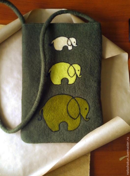 """Женские сумки ручной работы. Ярмарка Мастеров - ручная работа. Купить Сумка из шерсти """"Слоны"""", мокрое валяние, оригинальный подарок. Handmade."""