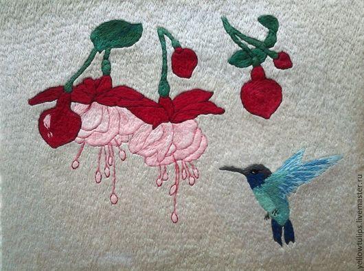 Картины цветов ручной работы. Ярмарка Мастеров - ручная работа. Купить Фуксия и колибри. Handmade. Картина для интерьера, нитки мулине