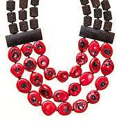 Украшения ручной работы. Ярмарка Мастеров - ручная работа Колье лава с красными кораллами. Handmade.
