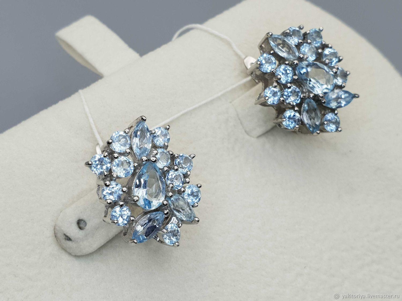 silver earrings with Topaz stones, Earrings, Moscow,  Фото №1