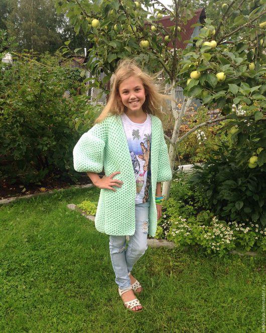 Одежда для девочек, ручной работы. Ярмарка Мастеров - ручная работа. Купить Кардиган детский. Handmade. Кардиган, стильный, мятный, однотонный