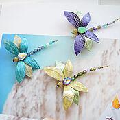Украшения handmade. Livemaster - original item Brooch leather Dragonfly. Handmade.