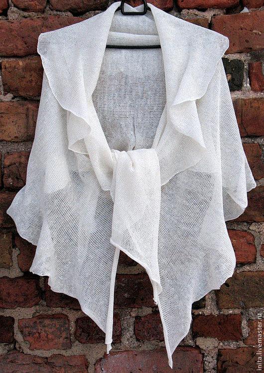 Шарфы и шарфики ручной работы. Ярмарка Мастеров - ручная работа. Купить Шарф льняной  Белый 60 x 200cm. Handmade.