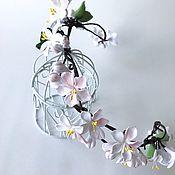 Свадебный салон handmade. Livemaster - original item Wedding wreath-crown with Apple blossoms. polymer clay.. Handmade.