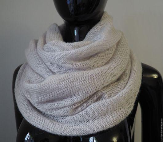 Шарфы и шарфики ручной работы. Ярмарка Мастеров - ручная работа. Купить Шарф-снуд из кид-мохера на шелке, туман. Handmade.
