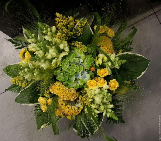 Букеты ручной работы. Ярмарка Мастеров - ручная работа. Купить букет из живых цветов. Handmade. Желтый, цветы, живые цветы