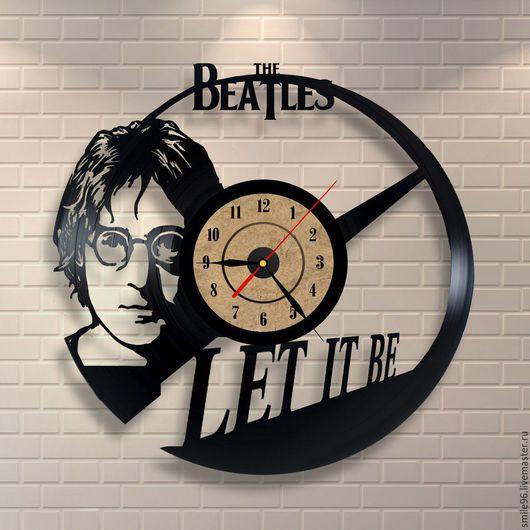 """Часы для дома ручной работы. Ярмарка Мастеров - ручная работа. Купить Часы """"Леннон"""". Handmade. Черный, часы, часы из пластинки"""