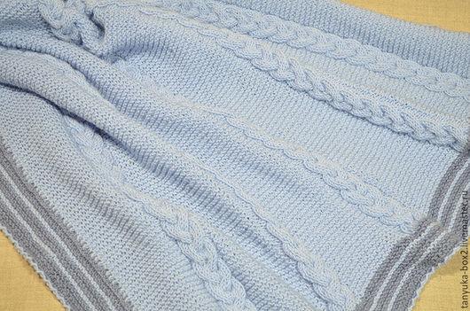 Пледы и одеяла ручной работы. Ярмарка Мастеров - ручная работа. Купить Плед детский вязаный голубой. Handmade. Плед вязаный