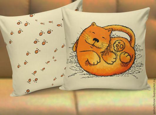 """Текстиль, ковры ручной работы. Ярмарка Мастеров - ручная работа. Купить Подушка """"Котейка"""". Handmade. Бежевый, кот, котейка, клубком"""