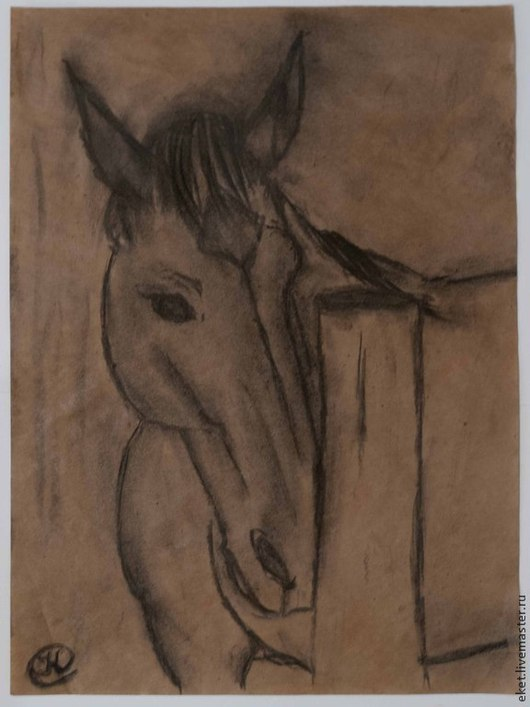 Картина `Лошадь`. Бумага, уголь.