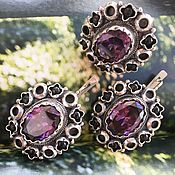 Украшения handmade. Livemaster - original item Oriental Tale. Earrings and ring with amethyst and garnets in silver.. Handmade.