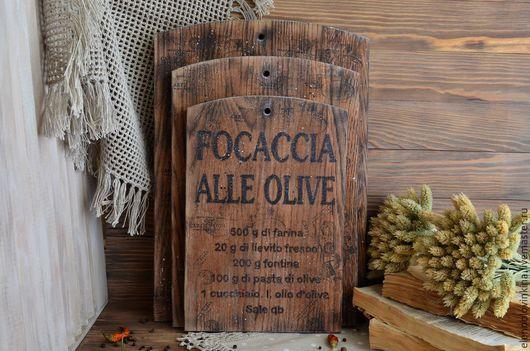 Разделочные доски  с рецептами блюд итальянской кухни в стиле старого итальянского кантри.