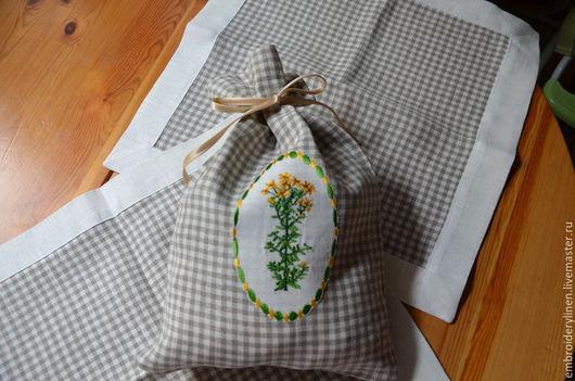 """Кухня ручной работы. Ярмарка Мастеров - ручная работа. Купить Льняной мешочек для трав """"Зверобой"""". Handmade. Серый, мешочек для трав"""