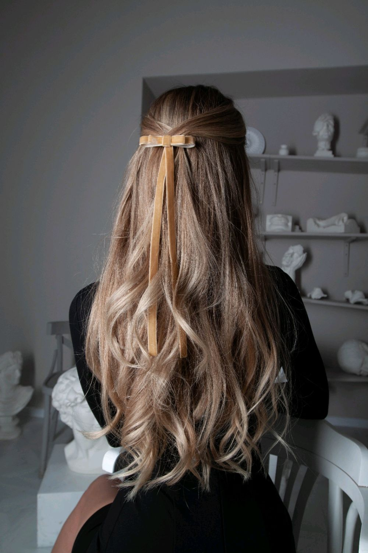 Бант-заколка для волос Мерси из бархата песочный, Заколки, Москва,  Фото №1
