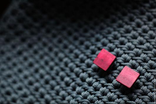 Запонки ручной работы. Ярмарка Мастеров - ручная работа. Купить (Амарант) простые квадратные запонки. Handmade. Брусничный, амарант, эко