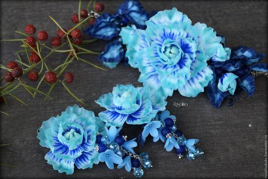 Комплекты украшений ручной работы. Ярмарка Мастеров - ручная работа. Купить Ледяные цветы. Handmade. Бирюзовый, цветы из полимерной глины