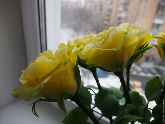 Цветы ручной работы. Ярмарка Мастеров - ручная работа. Купить Желтые розы из холодного фарфора. Handmade. Желтый, букет