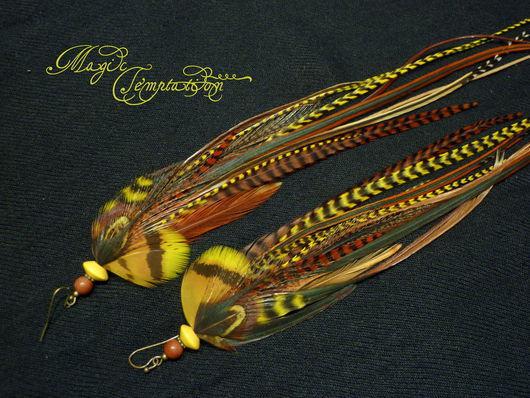 Серьги ручной работы. Ярмарка Мастеров - ручная работа. Купить Желто-коричневые серьги из перьев. Handmade. Желтый