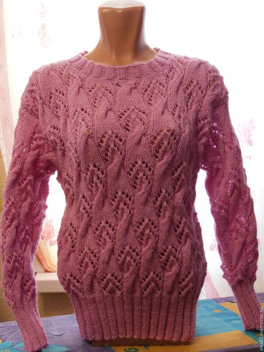 Кофты и свитера ручной работы. Ярмарка Мастеров - ручная работа. Купить Пуловер. Handmade. Бледно-сиреневый, вязанный, сиреневые дали