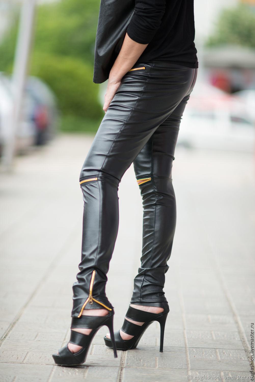 Leather, fashion leggings lightning on his knees PA0729VL, Pants, Sofia,  Фото №1