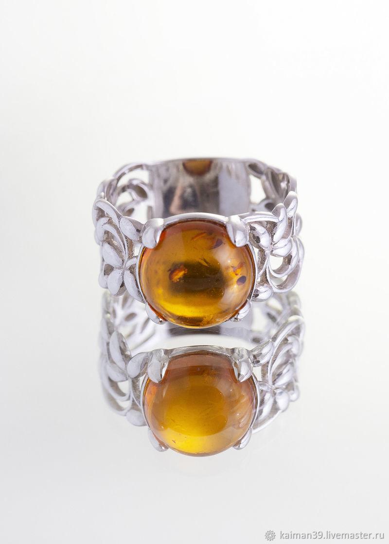 Ажурное серебряное кольцо из натурального балтийского янтаря, Кольца, Калининград,  Фото №1