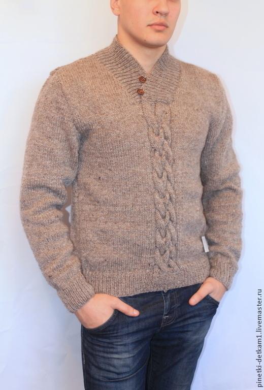 Для мужчин, ручной работы. Ярмарка Мастеров - ручная работа. Купить Мужской свитер вязаный. Handmade. Бежевый, мужской, теплый