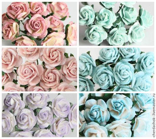 Открытки и скрапбукинг ручной работы. Ярмарка Мастеров - ручная работа. Купить Розы 1см. Handmade. Цветы бумажные, розочки 1см