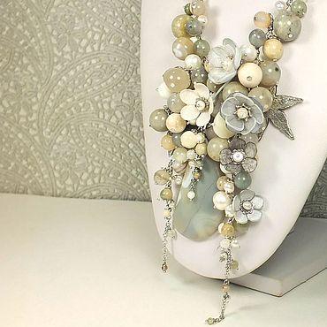 Decorations handmade. Livemaster - original item Necklace, removable flowers, Natural agate, Labrador, Pearl Gray Etude. Handmade.