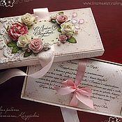"""Свадебный салон ручной работы. Ярмарка Мастеров - ручная работа Коробочка для денег с текстом """"Нежные розы. Handmade."""