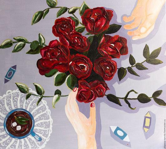 Картины цветов ручной работы. Ярмарка Мастеров - ручная работа. Купить Картина на холсте УТРО. Handmade. Комбинированный, картина