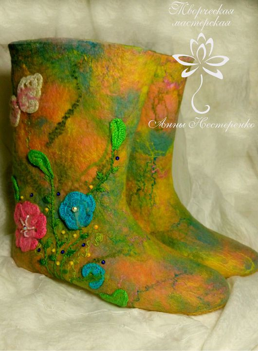 """Обувь ручной работы. Ярмарка Мастеров - ручная работа. Купить Домашние валенки """"Весна"""". Handmade. Валенки, шерстяная обувь"""