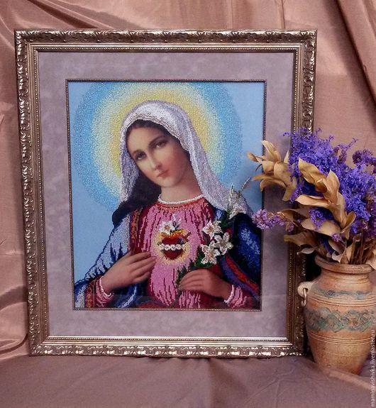 Иконы ручной работы. Ярмарка Мастеров - ручная работа. Купить Мария (Вышивка бисером). Handmade. Голубой, образ, божья матерь
