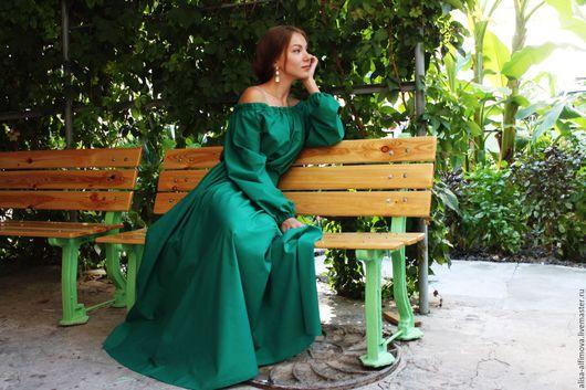 """Платья ручной работы. Ярмарка Мастеров - ручная работа. Купить Платье в пол """"Зелень лета"""". Handmade. Тёмно-зелёный"""