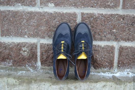 Обувь ручной работы. Ярмарка Мастеров - ручная работа. Купить Оксфорд темно-синий комбинированный с желтым языком на платформе. Handmade.