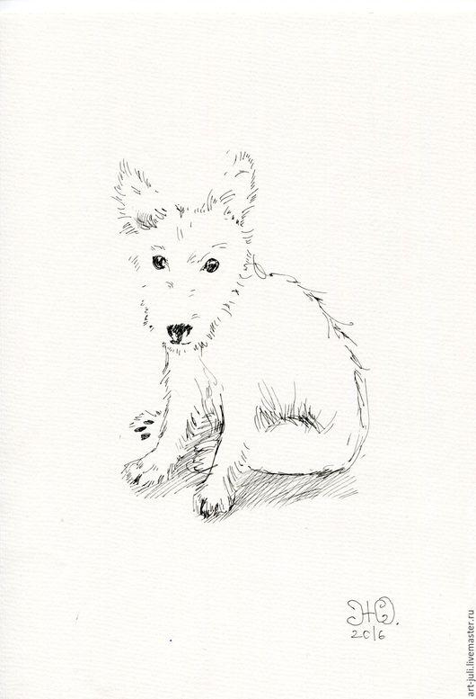 """Животные ручной работы. Ярмарка Мастеров - ручная работа. Купить рисунок """"Белый щенок"""". Handmade. Белый, щенок белый"""