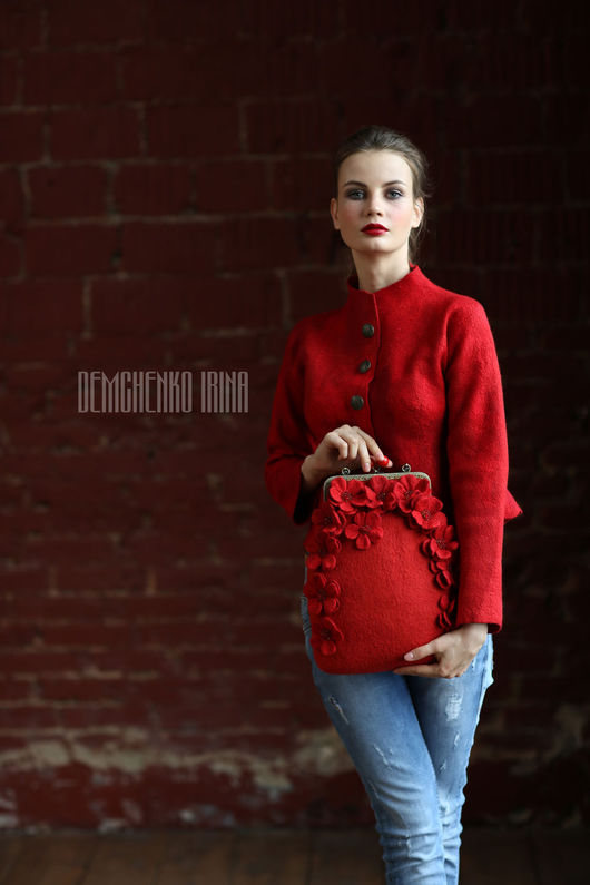 Женские сумки ручной работы. Ярмарка Мастеров - ручная работа. Купить Валяная сумка «Red». Handmade. Войлок, ярко-красный