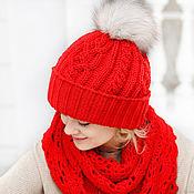 Аксессуары handmade. Livemaster - original item Winter knitted hat with pompom