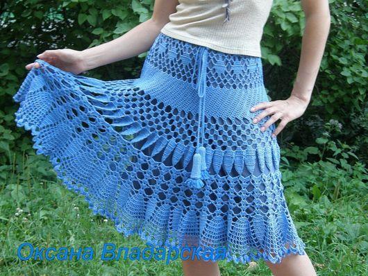 """Юбки ручной работы. Ярмарка Мастеров - ручная работа. Купить Вязаная юбка """"Голубой колокольчик"""". Handmade. Вязаная юбка"""