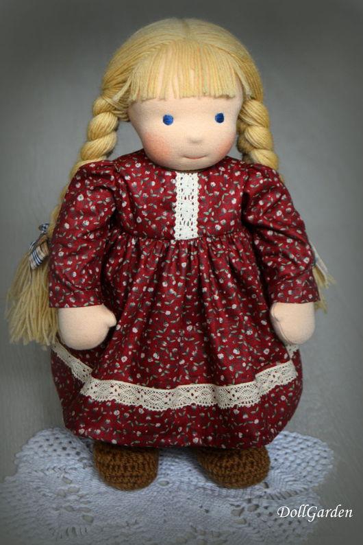 Вальдорфская игрушка ручной работы. Ярмарка Мастеров - ручная работа. Купить Анечка, вальдорфская кукла. Handmade. Бордовый, для девочки