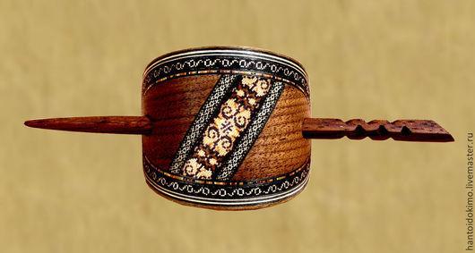 Заколки ручной работы. Ярмарка Мастеров - ручная работа. Купить Заколка с настоящей инкрустацией из дерева (не декупаж!), с палочкой. Handmade.